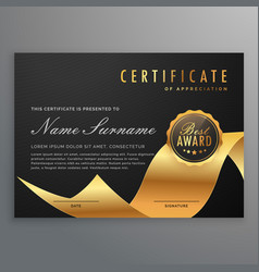 Luxury certificate of diploma with golden ribbon vector