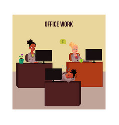 Office life poster banner with young white and vector