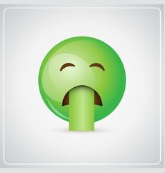 Green cartoon face sick feeling bad people emotion vector