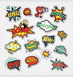 Pop art comic speech bubbles with funny text vector