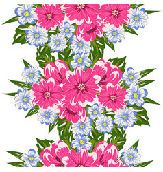 Seamless pattern of colorful flowers vector