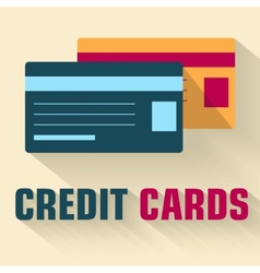 Flat credit cards icon concept design vector