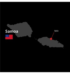Detailed map of samoa and capital city apia with vector