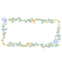 Frame with dove and ribbon vector