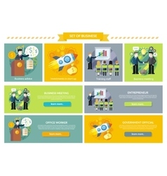 Set of business concept investment advice meetings vector