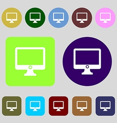 Computer widescreen monitor sign icon 12 colored vector