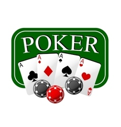 Poker emblem with cards and casino chips vector