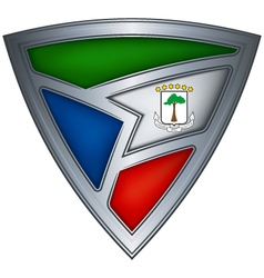 Steel shield with flag equatorial guinea vector