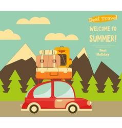 Travel car mountain landscape vector