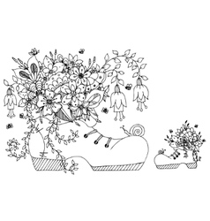 Zentangl shoe with flowers vector