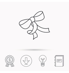 Gift bow icon present decoration sign vector