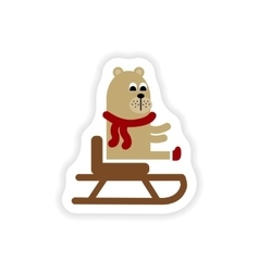 Paper sticker on white background bear on sledge vector
