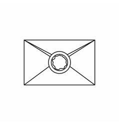 Envelope with wax seal icon outline style vector