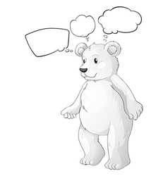 A white bear thinking vector image