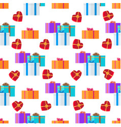 Adorned festive present boxes seamless pattern vector