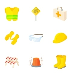 Asphalt works icons set cartoon style vector image vector image