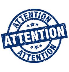 Attention blue round grunge stamp vector