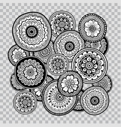 black and white floral coloring on transparent vector image vector image