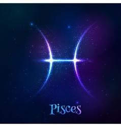 Blue shining cosmic neon zodiac pisces symbol vector