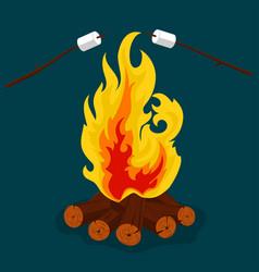 bonfire - camping burning woodpile campfire or vector image
