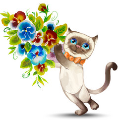 Cat with a bouquet of flowers vector