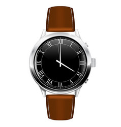 Classic watch with brown leather strap vector