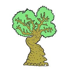 Comic cartoon big old tree vector