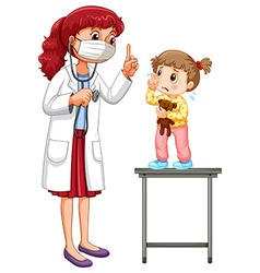 Doctor examining little girl vector image vector image