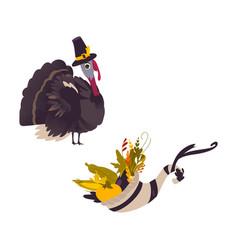 Farm hen turkey and cornucopia horn of abundance vector