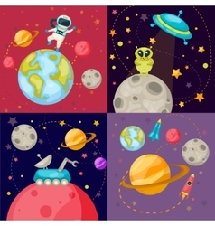 Four Space Icon Set vector image