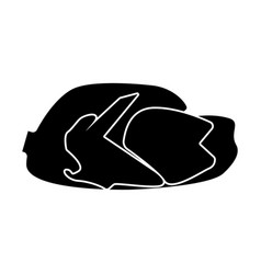 Fried chicken dish black color icon vector