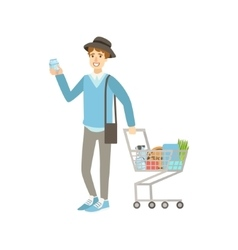 Guy Buying Food In Grocery Store vector image vector image