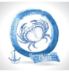 Hand drawn crab seafood vintage vector