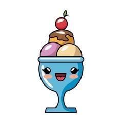 Kawaii cute sundae cream cherry vector