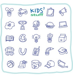 Kid stuff line icons vector