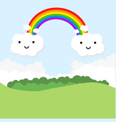 Landscape with rainbow and funny clouds vector