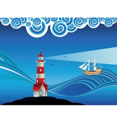 Lighthouse and boat in the sea6 vector