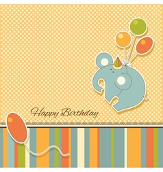 New baby announcement vintage card with elephant vector image vector image