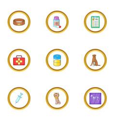 pet health icons set cartoon style vector image vector image