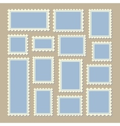 Postage stamps different size in blue and white vector