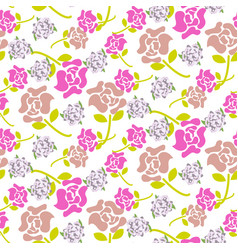 Rose flowers pink and green floral dark pattern vector