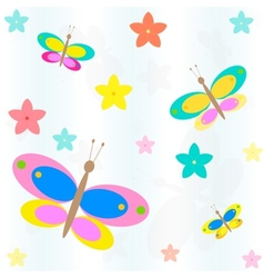 Seamless background with flowers and butterflies vector