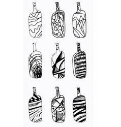 set of design bottles hand drawn elements vector image vector image