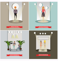 Set of fashion posters in flat style vector