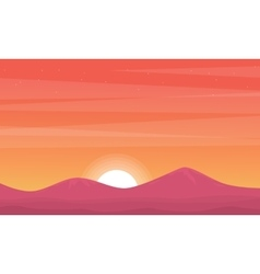 Silhouette of mountain at sunset beauty scenery vector image vector image