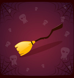 silhouette witch broomstick and skull happy vector image