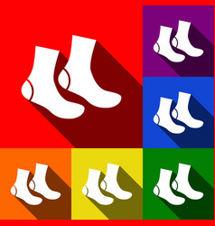 Socks sign set of icons with flat shadows vector