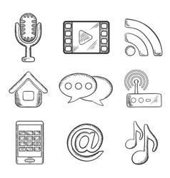 Telecommunication and multimedia sketched icons vector