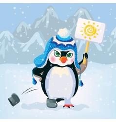 Unhappy penguin holding a sign vector