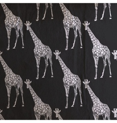 vintage of giraffe pattern on the old black vector image vector image